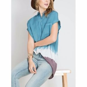 Tops - SHORT SLEEVE SHIRT WITH OMBRE DIP DYE DETAIL
